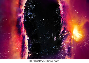 galaxy - skirmish of galaxies in the black space of nebula