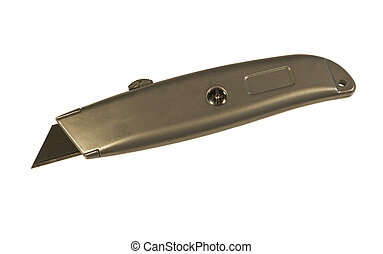 utility knife with blade extended isolated - utility knife...