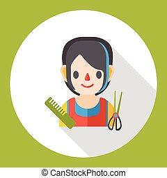 hairstylist occupation character flat icon
