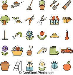 Set of colourful garden icons