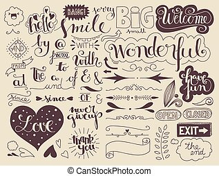 handlettering elements and words - set of handlettering...