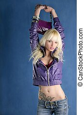 blonde fashion girl young woman purple bag