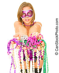 Offering Beads - colorful mardi gras queen offering a lot of...