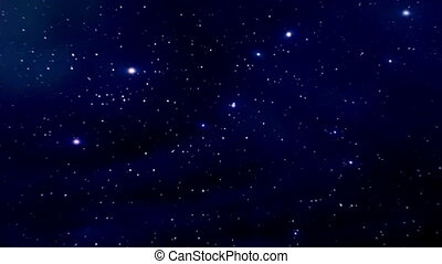 Night sky with twinkling stars. Camera slowly moves...