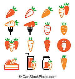 Carrot, carrot meals - cake, juice - Food, vegetable icons -...