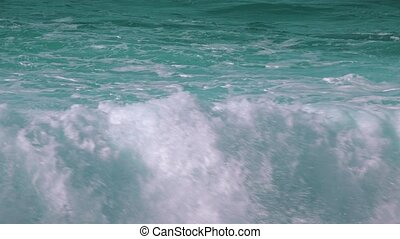 Ocean Waves Breaking on Rock, closeup