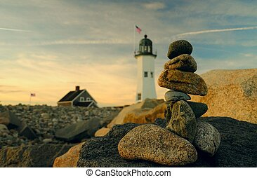 Lighthouse and cairns - Old Scituate lighthouse as a...