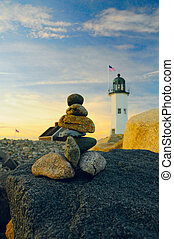Lighthouse sunset - Old Scituate lighthouse as a background...