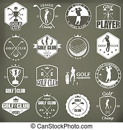 golf labels, badges and emblems - Set of vintage golf...
