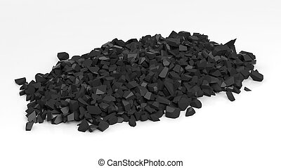 Pile of shattered black pieces of stone, isolated on white...