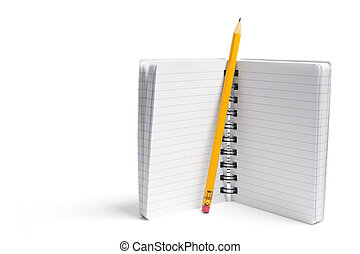 Pencil and Notebook on White Background
