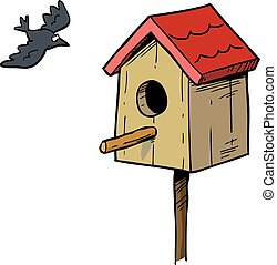 Birdhouse and bird - Cartoon doodle birdhouse and bird...
