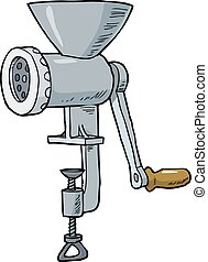 Cartoon meat grinder on a white background vector...