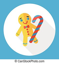 Christmas gingerbread man flat icon