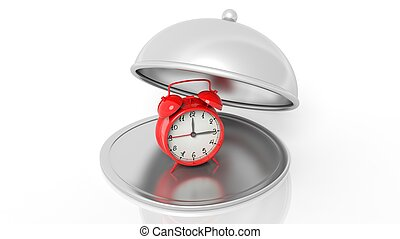 Alarm clock on silver cover dish, isolated on white...