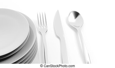 Silver fork, spoon and knife with a stack of plates, isolated on white background.