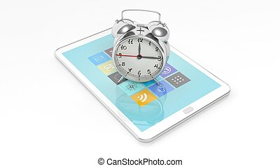 Alarm clock on tablet screen, isolated on white background