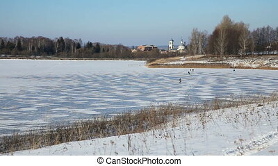 Landscape winter lake - Winter landscape of the countryside,...
