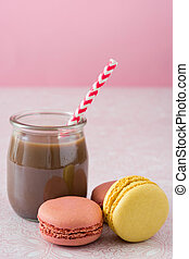 Macarons and chocolate milkshake
