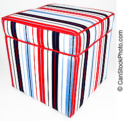 Ottoman Storage Footrest - Colorful Cotton Striped Fabric...