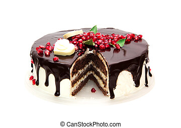 biscuit chocolate cake - chocolate cake decorated with red...