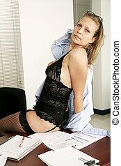 Sensual Secretary Sit On Table