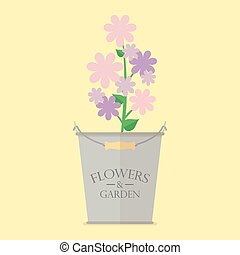 Flowers in zinc pot flat icon. Vector Illustration