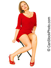 Sexy Girl In Red Shirt - girl in red dress posing isolated...