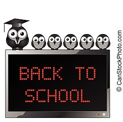 Back to school - Comical bird teacher and students with...