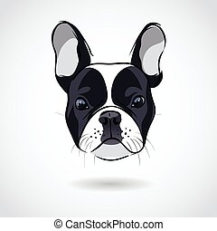 French bulldog head isolated on white background. Vector...
