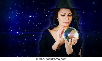 Girl with fortune telling ball against star sky. - Girl with...