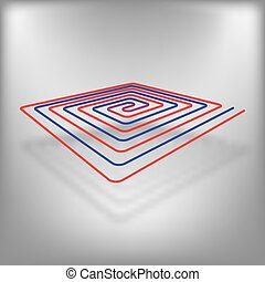 Floor heating vector eps10 icon at red background