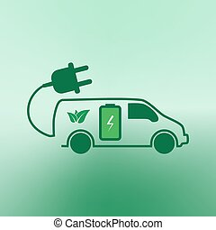 E-car. Eco car. Electric icon. Charging electric car vector...