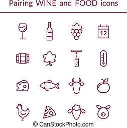 Wine and food pairing line icons - Vector set of line icons...