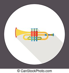 trumpet music instrument flat icon