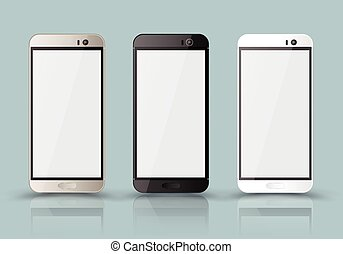 New realistic mobile phone smartphone collection mockups...