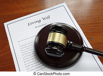 Living Will document and legal gavel...