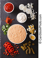 Thousand Island Dressing with ingredients vertical top view...