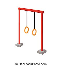 Gymnastic rings children cartoon icon. Playground equipment...