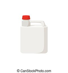 White plastic canister with red cap cartoon icon