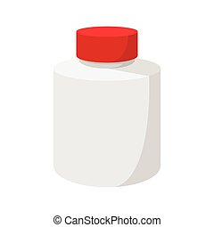 White blank plastic bottle with red cap icon