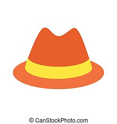 Male hat flat icon isolated on white background