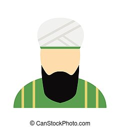 Muslim man flat icon isolated on white background