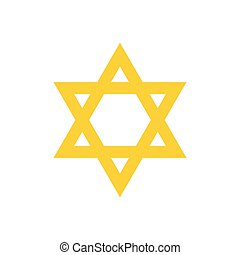 David star flat icon - Yellow david star flat icon isolated...