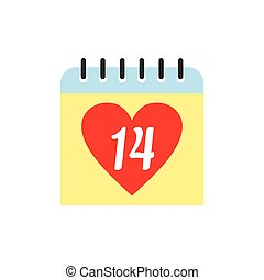 14 February calendar flat icon isolated on white background