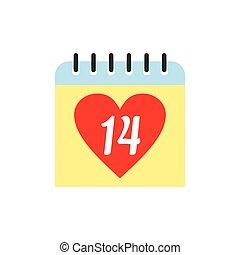 14 February calendar flat icon isolated on white background