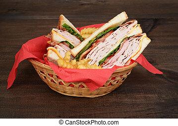 basket of chicken club sandwich