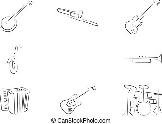 Musical instruments - Isolated lineart Musical instruments...