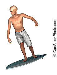 Male Surfer on White - 3D digital render of a male handsome...