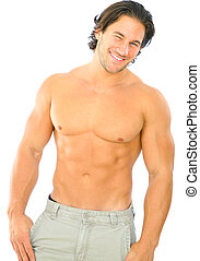 Handsome Fitness Male Caucasian - isolated topless caucasian...